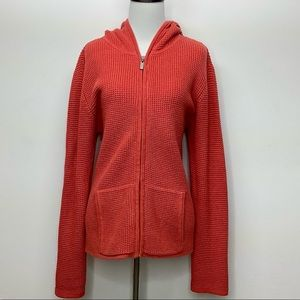 Chico's size 1 Small knit hoodie zip pockets